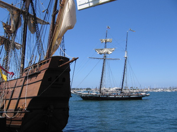 Californian sails in toward its docking place near the San Salvador. More cannon battles out on San Diego Bay will take place all Labor Day weekend!
