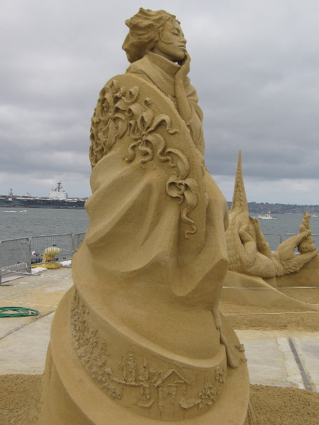 Side view of the stunning, award-winning sand sculpture on San Diego's B Street Pier.