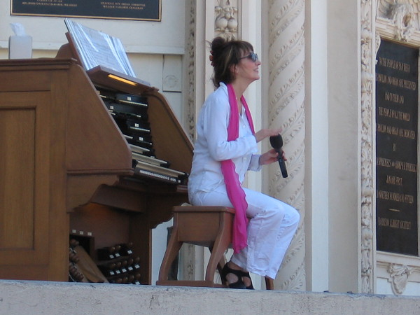 Dr. Carol Williams, San Diego Civic Organist for 15 years, in the middle of her final Sunday afternoon performance at the Spreckels Organ Pavilion in Balboa Park.