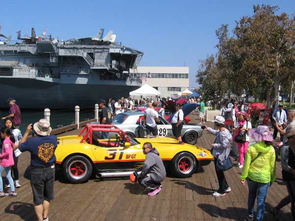 Out on the boardwalk near the USS Midway, cool cars are on display for 2016 Fleet Week in San Diego.