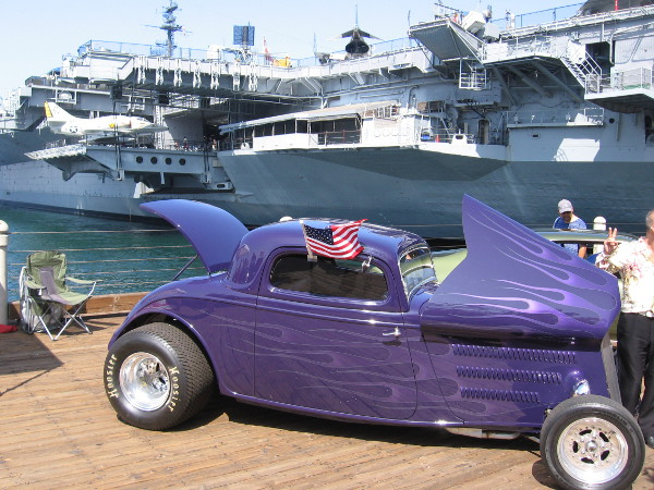 One of many cars that visitors to the Embarcadero can check out. They are on display to promote the speed festival at North Island next weekend. Races are held on the Navy air base's huge runway!