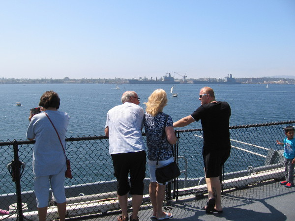 At the rail of the USS Midway. There are beautiful views in every direction. Any day is a great day to visit.