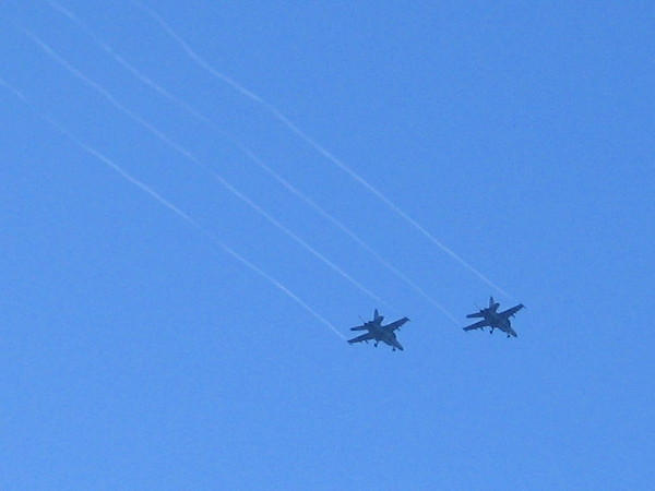 A pair of jets pass overhead during the 2016 San Diego Fleet Week Sea and Air Parade.