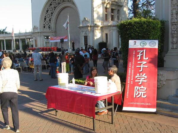 Table provides info about the Confucius Institute at San Diego State University. They co-sponsored the Moon Festival, along with the House of China in Balboa Park.