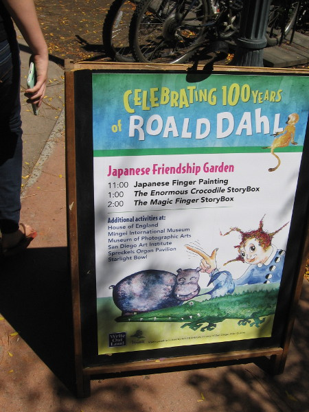 Celebrating 100 years of the beloved storyteller Roald Dahl. Many readings, screenings and activities could be found around Balboa Park during this special day.