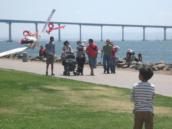 A boy and a kite at Embarcadero Marina Park North.