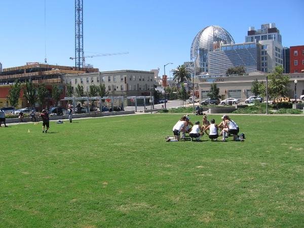 Meanwhile, out on the nearby grass, not far from some folks practicing football, I spot a circle of baseball players...