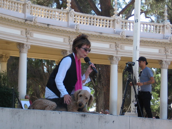 Carol and pal Dietrich between pieces. KUSI videotaped the historic occasion.