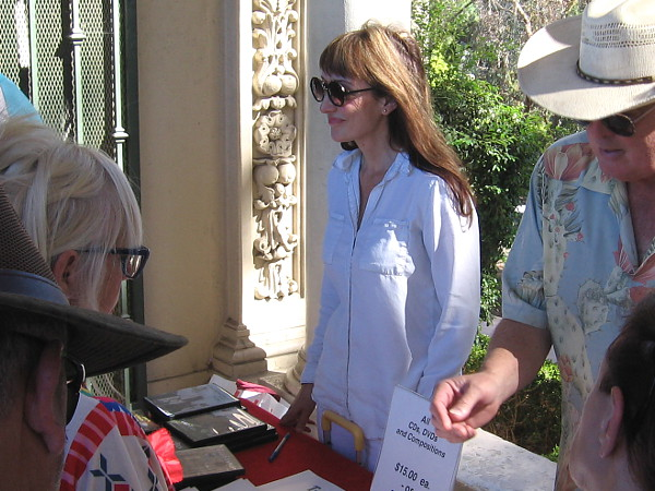 Dr. Carol Williams greets organ lovers in the gift shop after her final Sunday concert in Balboa Park. She has long been a San Diego treasure, and now becomes a part of our city's history.