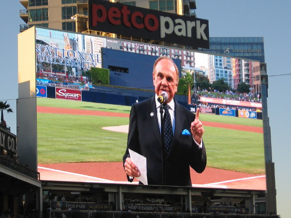 Dick Enberg addresses the crowd. He loved doing television broadcasts for the Padres, and San Diego fans loved him in return.