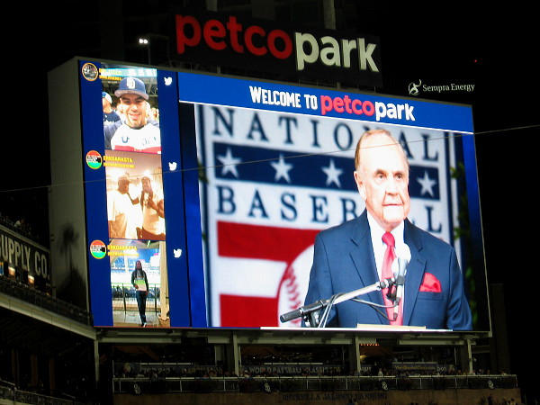 Image of Dick Enberg at the National Baseball Hall of Fame, where he was awarded the 2015 Ford C. Frick Award for broadcasting.