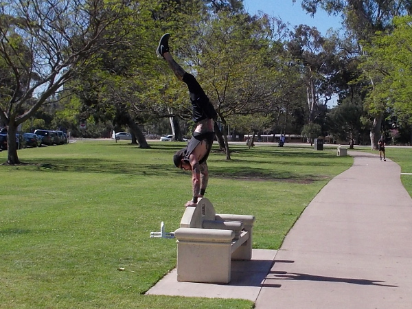 A handstand on a bench. Another sunny day in San Diego.
