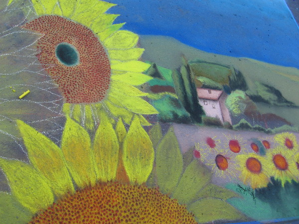 Lawrence Godfrey. Sunflowers and a peaceful country scene interpreted with chalk.