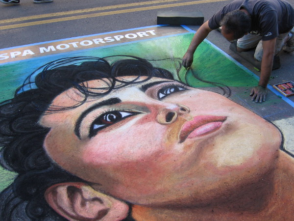 A beautiful face comes alive on a Little Italy street. Amazing chalk art will be a central attraction at the annual Festa celebration in San Diego.