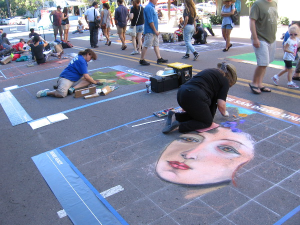 Chalk artists line two blocks of Beech Street. It's a very special October weekend in downtown San Diego's Little Italy neighborhood.