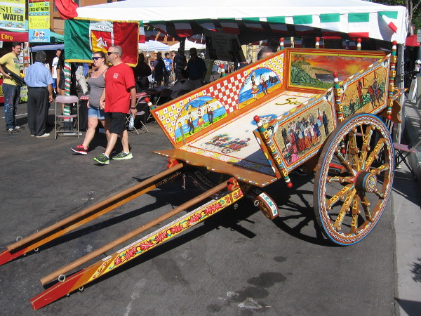 A traditional Sicilian cart on display at 2016 Festa in San Diego's Little Italy.