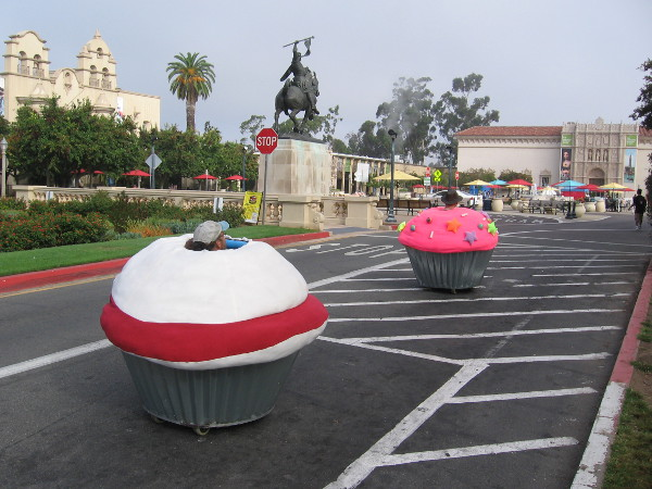 In the morning, before the Maker Faire officially opened, I spotted two cupcake cars heading through Balboa Park!