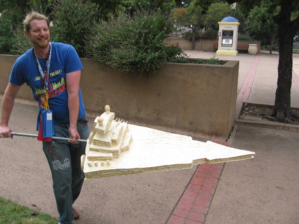 This guy was flying what appeared to be a huge model of a Star Wars Imperial Star Destroyer down Balboa Park's El Prado!