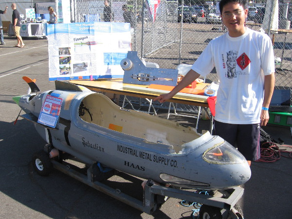 This human powered submarine was created by a team of students at UCSD. It competed in the International Submarine Race and was propelled by a 3-D printed fin.