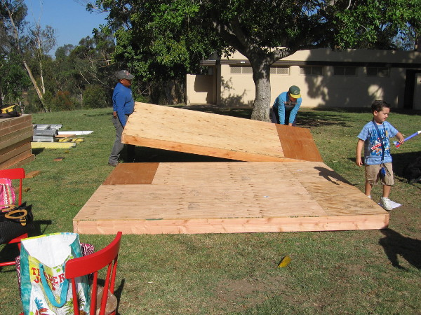 A tiny house would be built here during the Maker Faire weekend. When I first walked by, the floor was being laid down.