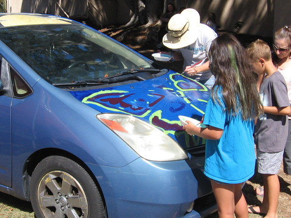 Anybody passing by was invited to Paint a Prius near the San Diego Automotive Museum!