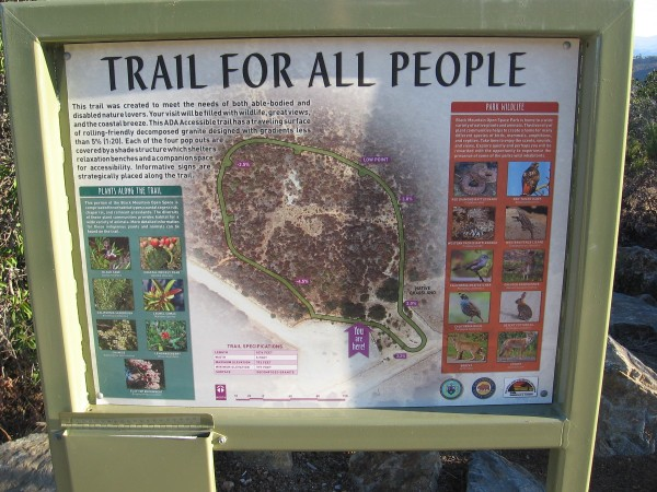 The Jas Arnold Trail For All People is an ADA Accessible loop composed of wheelchair-friendly decomposed granite. Four small shelters provide shade for those enjoying the views.