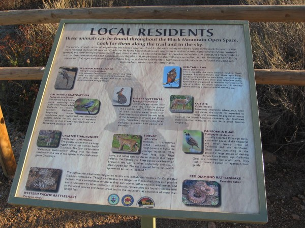 Another sign along the trail provides detailed information about some of the wildlife one might see.