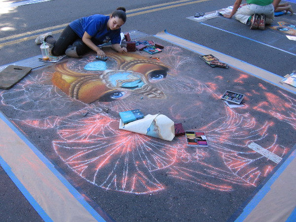 Elaborate chalk artwork, also known as Gesso Italiano, is being created the day before 2016 Festa begins in Little Italy.