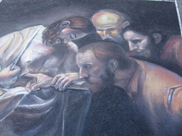 Canyon Crest Academy. A chalk depiction of The Incredulity of Saint Thomas by Caravaggio.