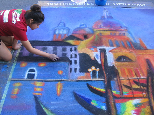 Liberty Charter High School. A scene from Venice, Italy produced with chalk.