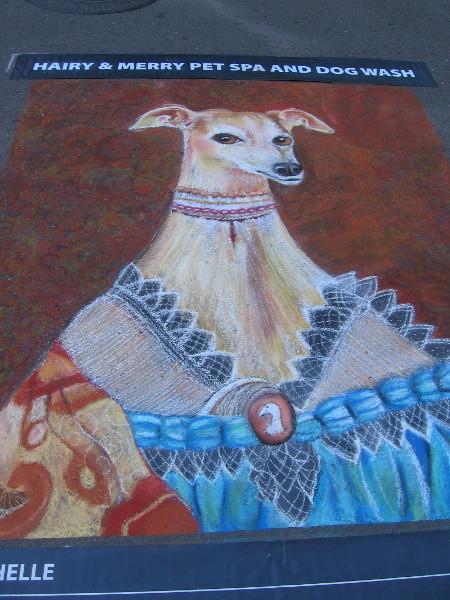 Valerie Michelle. Unusual chalk art depicts an elegantly dressed dog!