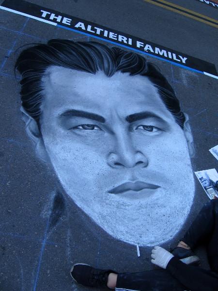 Megnificent. A chalk art portrait of Leonardo DiCaprio.