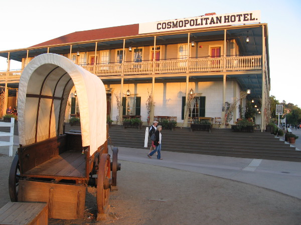 A covered wagon in front of the Cosmopolitan Hotel in Old Town San Diego State Historic Park.