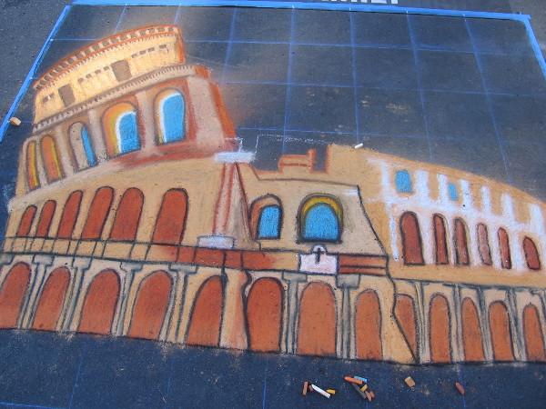 Grasiela Rodriguez. The iconic Roman Colosseum. A work of Italian chalk art.