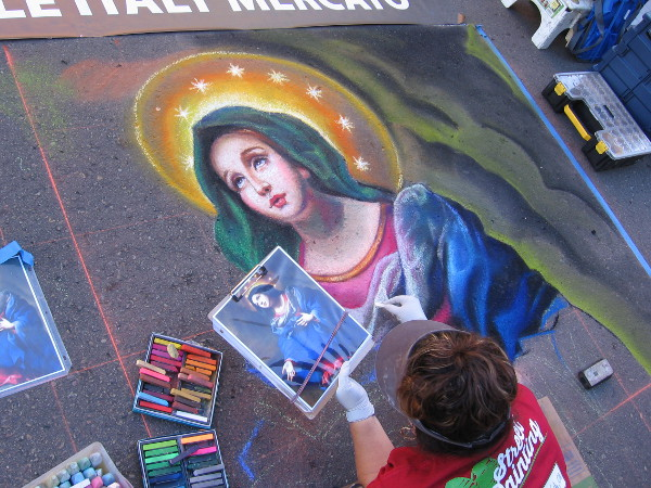 Tonie Garza. Madonna in Glory by Italian painter Carlo Dolci. One of many Catholic chalk art images created for Festa in Little Italy.