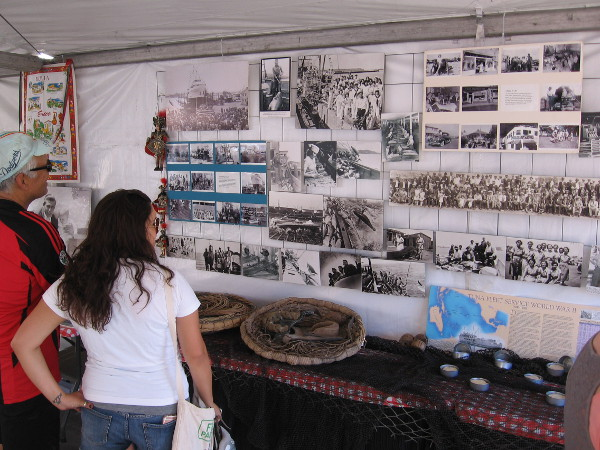 An exhibit in the cultural pavilion included old photos of life in Little Italy, a neighborhood in San Diego once associated with fishing.