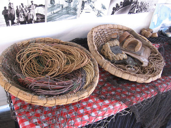 A display at Festa includes nets and old commercial fishing gear.