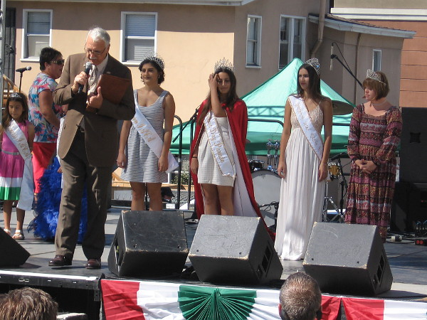 The Columbus Day Queens are presented on stage during 2016 Festa in Little Italy.