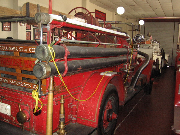 Three additional old fire engines can be seen in a second room inside old Fire Station No. 6.