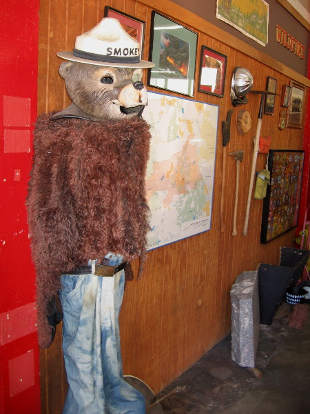 Smokey Bear welcomes visitors to The San Diego Firehouse Museum.