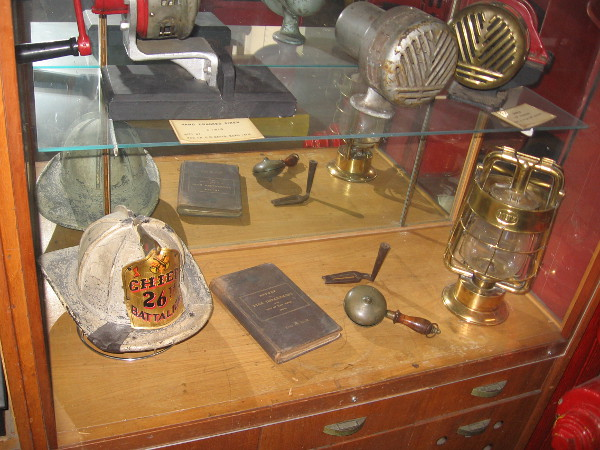 Another display case at The San Diego Firehouse Museum contains all sorts of interesting old artifacts.