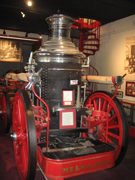 A third room in the Firehouse Museum contains this 1903 coal burning steamer. Fire heats the boiler water making steam which activates a piston that pumps water.