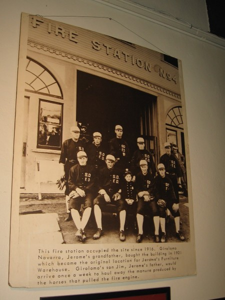 An old photo of San Diego Fire Station No. 4 and its personnel.