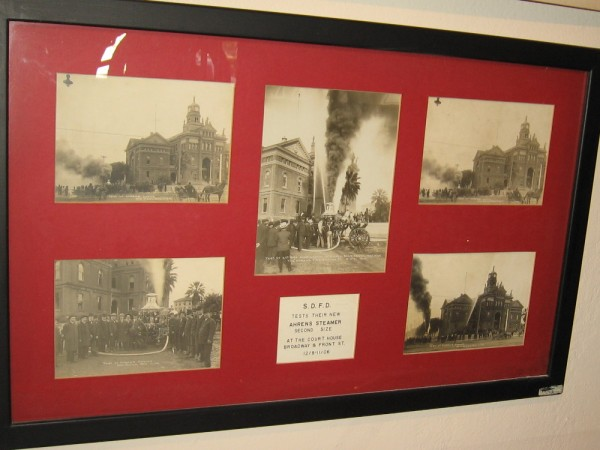 Photos of the San Diego Fire Department testing their new Ahrens Steamer at the courthouse on Broadway and Front Street in 1906.