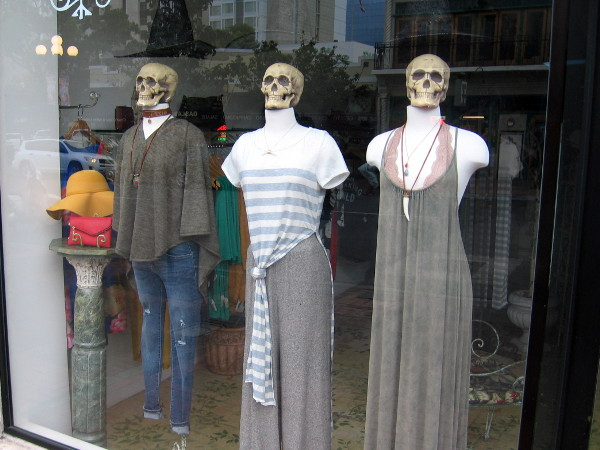 Scary skulls on mannequins in a Gaslamp shop window. Halloween must be approaching!