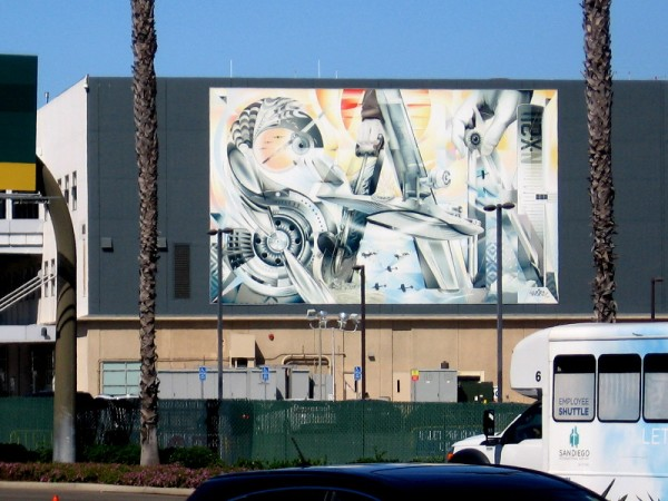 This mural can be spotted across Harbor Drive as one approaches Lindbergh Field. Painted on the commuter terminal, it spells SAN, the code for San Diego International Airport.
