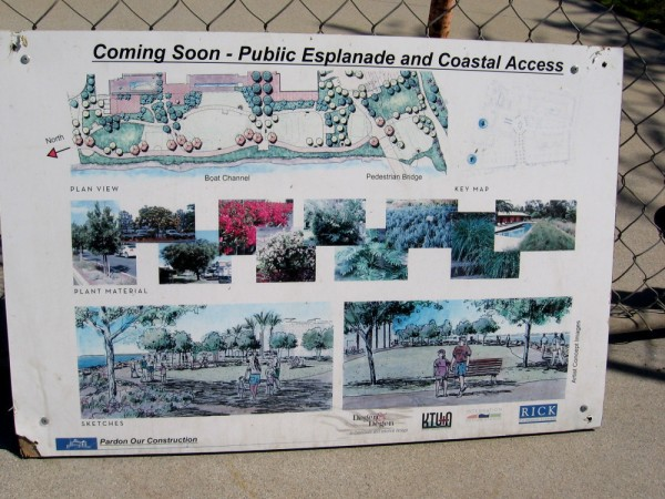 Sign declares Coming Soon - Public Esplanade and Coastal Access. Sketches show people enjoying the new park.