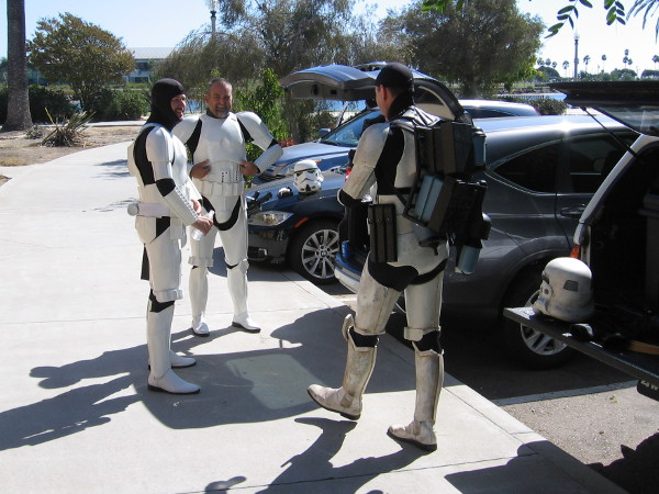 These Star Wars stormtroopers were caught without their helmets. They appear to be quite human! I believe they would be providing entertainment at a special event in NTC Park.