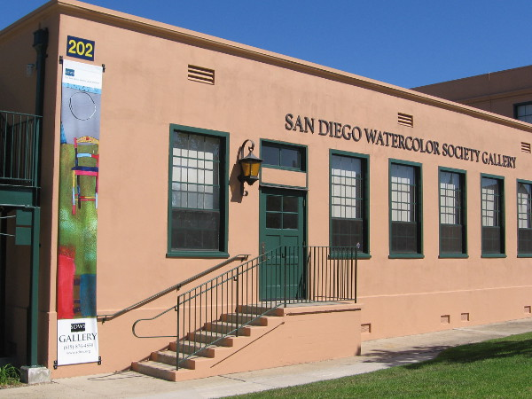 Colorful banner outside the San Diego Watercolor Society Gallery. Their amazing International Exhibition is underway and will be open to the public through October 31.