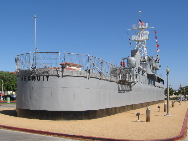 The USS Recruit is landlocked permanently at Liberty Station. Fondly called the USS Neversail, this ship set in concrete was used for training new Navy sailors.